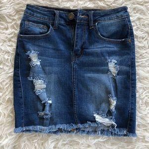 Machine mini denim skirt